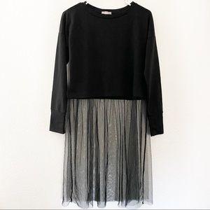 Melrose & Market | Black Tulle Skirted Sweatshirt